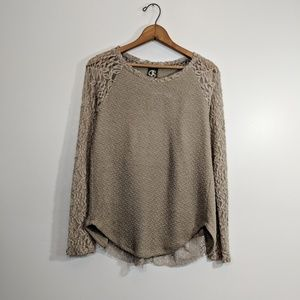 One September Anthropologie Tan Beige Lace Sweater